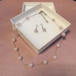 Jewelry - Pink Pearl Necklace & Earring Set
